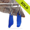 Very Long Cobalt Blue Sea Glass on Solid Sterling Silver Leverbacks Earrings