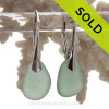 Genuine Beach Found Perfect Soft Aqua Green Sea Glass Earrings on Solid Sterling Silver Leverbacks