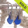 Beautiful Beach Found Cobalt Blue Sea Glass on Solid Sterling Silver Leverbacks Earrings