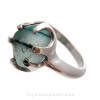 Large Natural UNALTERED Mixed Green Sea Glass Ring In Sterling - Size 8 (Re-Sizeable) (RING20-15)