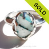 Large Natural UNALTERED Mixed Green Sea Glass Ring In Sterling - Size 8 (Re-Sizeable)  Amazing sea glass from Seaham This is the EXACT Sea Glass Ring you will receive!