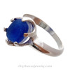 A Stunning Brilliant Mixed VIVID Blue English Multie Sea Glass Ring In Sterling - Size 8