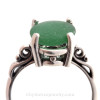 Seaweed Green Beach Glass Ring in Sterling Scroll Setting - Size 8 (Re-Sizeable)