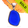 Lovely Large Cobalt Blue Sea Glass Bottle Bottom In a Solid Sterling Silver Wire Bezel© Necklace Pendant