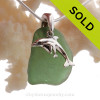 """Seaweed Green Sea Glass Necklace with Sterling Silver Dolphin  Mother and Baby Charm - 18"""" Solid Sterling Chain INCLUDED"""