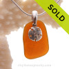 Glowing Amber Brown Sea Glass Necklace With Sterling Sandollar Charm - S/S CHAIN INCLUDED