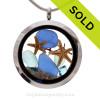 Tropical Treasures-  Aqua and Blue Genuine Sea Glass Locket With Starfish and Sapphire Gem & Beach Sand
