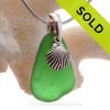 """Glowing Vivid Green Sea Glass Necklace with Sterling Silver Shell Charm - 18"""" Solid Sterling Chain INCLUDED"""
