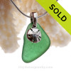Bright Vivid Green Sea Glass Necklace With Sterling Sandollar Charm - S/S CHAIN INCLUDED
