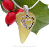 """Glowing Peridot Green Sea Glass Necklace with Sterling Silver Heart Charm - 18"""" Solid Sterling Chain INCLUDED"""
