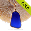 PERFECT Intense Cobalt Blue Genuine Sea Glass pendant set in our 14K Goldfilled Original Wire Bezel.