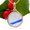 Blue Stripe -  PERFECT Pure White & Vivid Blue Seaham Sea Glass Pendant in Original Wire Bezel© in 14K Rolled Gold