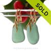 Larger Warm Seaweed Green Sea Glass Earrings on 24K Gold Vermeil Coral Branch Earrings