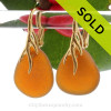 Larger Amber Sea Glass Earrings on 24K Gold Vermeil Coral Branch Earrings