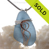Sheppy Blue genuine Sea Glass Sterling Waves© Setting Necklace Pendant