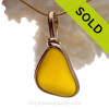 Electric Sunshine when you need it in this ULTRA RARE Golden English Sea Glass with Inclusions In 14K G/F Original Wire Bezel© Pendant setting.