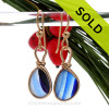 Cross Sectioned Petite Light and Dark Blue Sea Glass Earrings set in our Original Wire Bezel© setting In 14K Goldfilled.