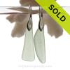Long Seafoam  Green Sea Glass Earrings on Solid Sterling Deco Hooks