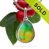 A stunning combination of vivid Green with Bright Gold in this very old English Sea Glass piece and set in our Original Wire Bezel© pendant in Solid Sterling Silver. SOLD - Sorry this Sea Glass Jewelry selection is NO LONGER AVAILABLE!