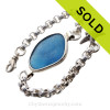 Mixed Blue Seaham Sea Glass ID Bracelet set in our Premium Deluxe Wire Bezel© Solid Sterling Silver