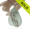 Perfect Large Seafoam Genuine Sea Glass Sterling Waves© Signature Sterling Setting Pendant