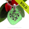 """Vivid Green Sea Glass Necklace With Sterling Silver LOVE Charm - 18"""" STERLING CHAIN INCLUDED"""