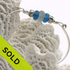 Pure White Sea Glass Bangle Bracelet With Beads