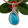 P-E-R-F-E-C-T Mixed Tropical Aqua Seaham Sea Glass Pendant in Original Gold Wire Bezel©
