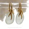 Larger Bright Fresh Sea Green Sea Glass Earrings on 24K Gold Vermeil Coral Branch Earrings