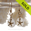 Genuine Pure White Sea Glass Earrings On Gold With Starfish Charms