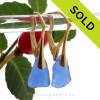 Cobalt Blue Sea Glass on 24K Gold Vermeil Leverback Earrings