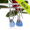 A pair of natural surf tumble sea glass earrings in a lucky cobalt blue on sterling fish hooks. SOLD - Sorry this Sea Glass Earring selection is NO LONGER AVAILABLE!