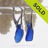 Long Chunky Vivid Cobalt Blue Sea Glass on Solid Sterling Silver Leverbacks Earrings
