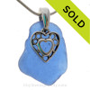 """Lucky Cobalt Blue Genuine Sea Glass Necklace with Sterling Silver Hearts Charm - 18"""" Solid Sterling Chain INCLUDED"""
