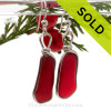 Long Genuine Beach Found Royal Red Ruby Sea Glass Earrings In Solid Sterling Original Wire Bezel©
