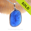 A large TOP QUALITY LARGE Cobalt Blue sea glass set in our Original Wire Bezel© necklace pendant setting that encases the glass in silver and leaves both front and back open so you can feel the texture of this antique top quality glass.