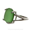 Genuine Green Sea Glass In Sterling Basket Ring - Size 7