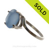 Carolina Blue Beach Found Sea Glass In Sterling Ring - Size 8 (RE-SIZEABLE)