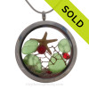 Christmas Under The Sea  - Green Sea Glass With Starfish Holiday Crystals in a Large Crystal Locket