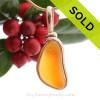 Super Ultra Rare Mixed Orange Sea Glass In 14K F/G Original Wire Bezel