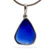 Thick Small Cobalt Blue Genuine Sea Glass Pendant In S/S Original Wire Bezel© Pendant