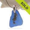 Cobalt Blue Sea Glass Necklace On Sterling Bail With Sterling Seahorse - S/S CHAIN INCLUDED