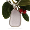 An older piece of lavender or purple sea glass from Maine set in our Solid Sterling Silver Deluxe Wire Bezel pendant setting.