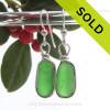 Long Ovals of Vivid Green Genuine Sea Glass Earrings In Sterling Silver Original Wire Bezel©