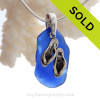 Large Blue Sea Glass Necklace On Sterling Bail With Sterling Silver Flip Flops Charm - S/S CHAIN INCLUDED