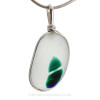 HUGE RARE 3 color Multi Sea Glass Necklace Pendant In S/S Original Wire Bezel©