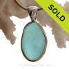Very Large Chunky Aqua Blue Genuine Sea Glass set in our Mixed Deluxe Tiffany Wire Bezel© pendant setting .