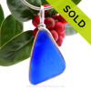 Triangle of Deep Subtle Embossed Blue Sea Glass Necklace Pendant In Sterling Original Wire Bezel©