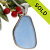This is a beautiful LARGE P-E-R-F-E-C-T Carolina Blue Sea Glass set in our Deluxe Wire Bezel© pendant setting in Solid Sterling.