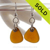 Simply Sea Glass Perfect Warm Brown Sea Glass Earrings On Solid Sterling Silver Silver Earwires